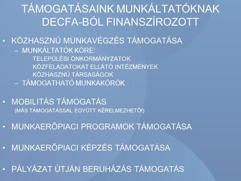 TÁMOGATÁSAINK MUNKÁLTATÓKNAK DECFA-BÓL FINANSZÍROZOTT