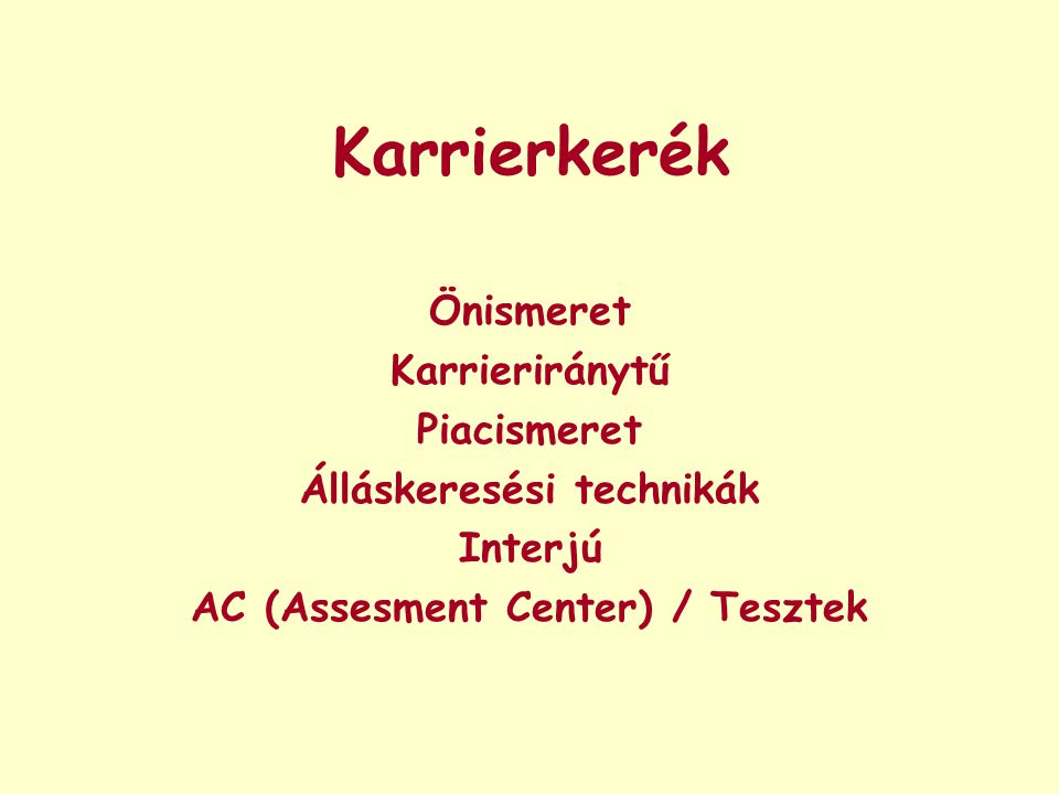 Álláskeresési technikák AC (Assesment Center) / Tesztek