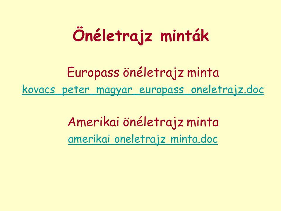Önéletrajz minták Europass önéletrajz minta Amerikai önéletrajz minta