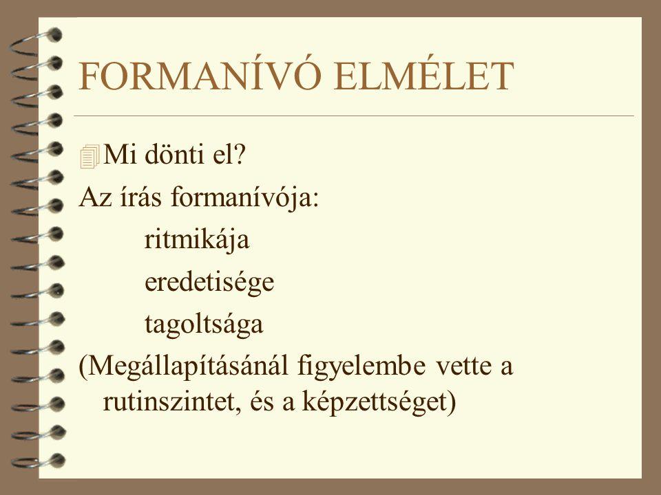 FORMANÍVÓ ELMÉLET Mi dönti el Az írás formanívója: ritmikája