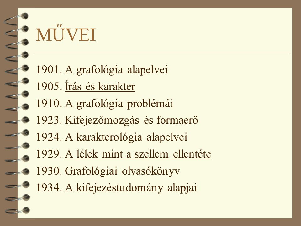 MŰVEI 1901. A grafológia alapelvei 1905. Írás és karakter