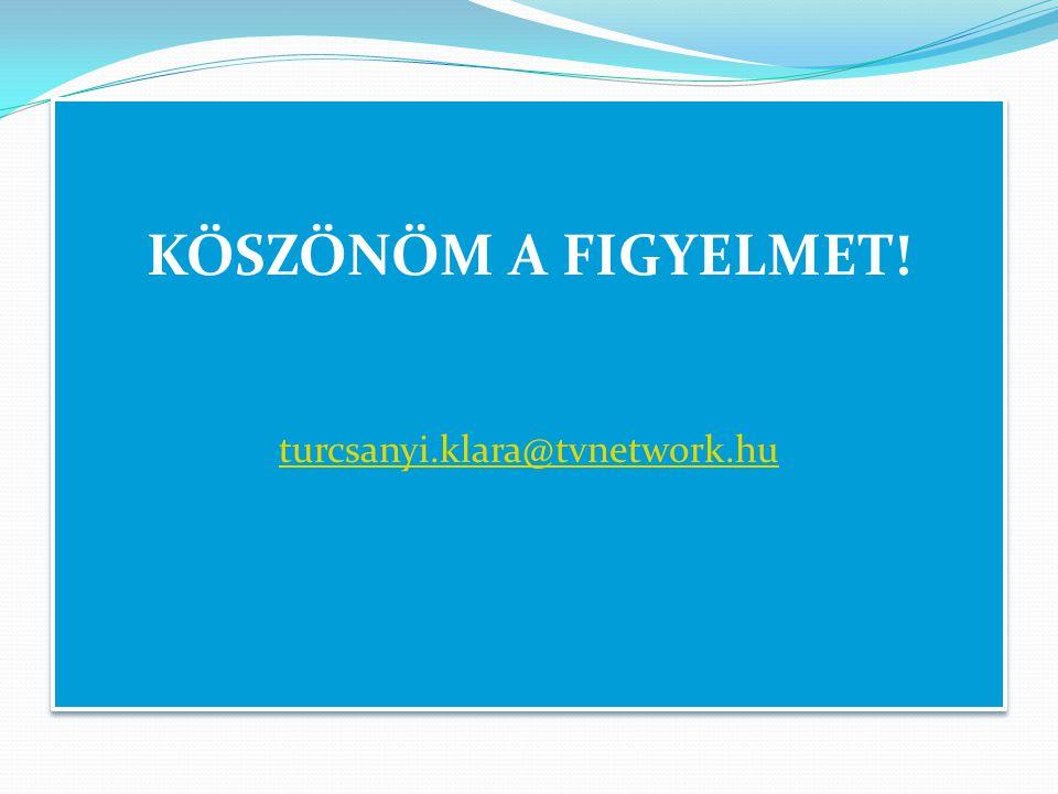 KÖSZÖNÖM A FIGYELMET! turcsanyi.klara@tvnetwork.hu