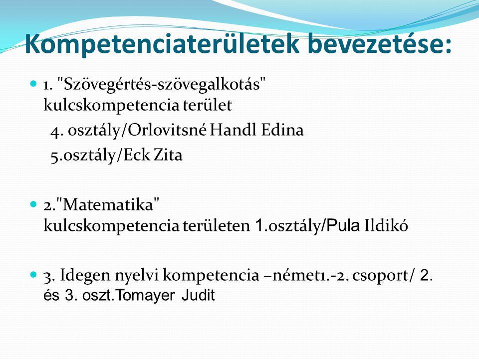 Kompetenciaterületek bevezetése: