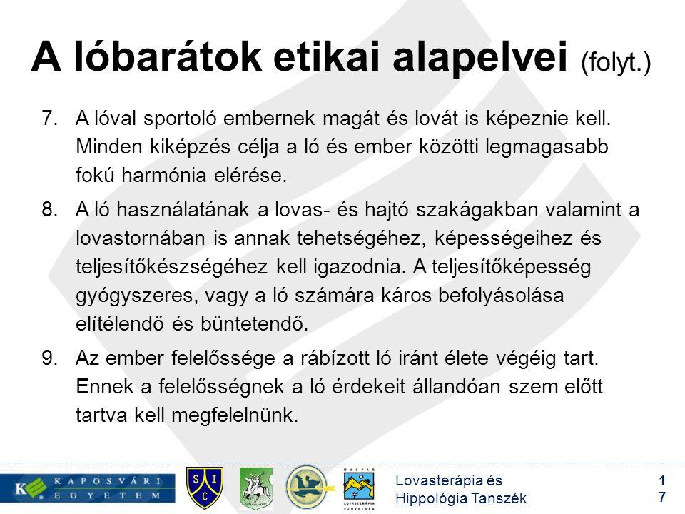 A lóbarátok etikai alapelvei (folyt.)