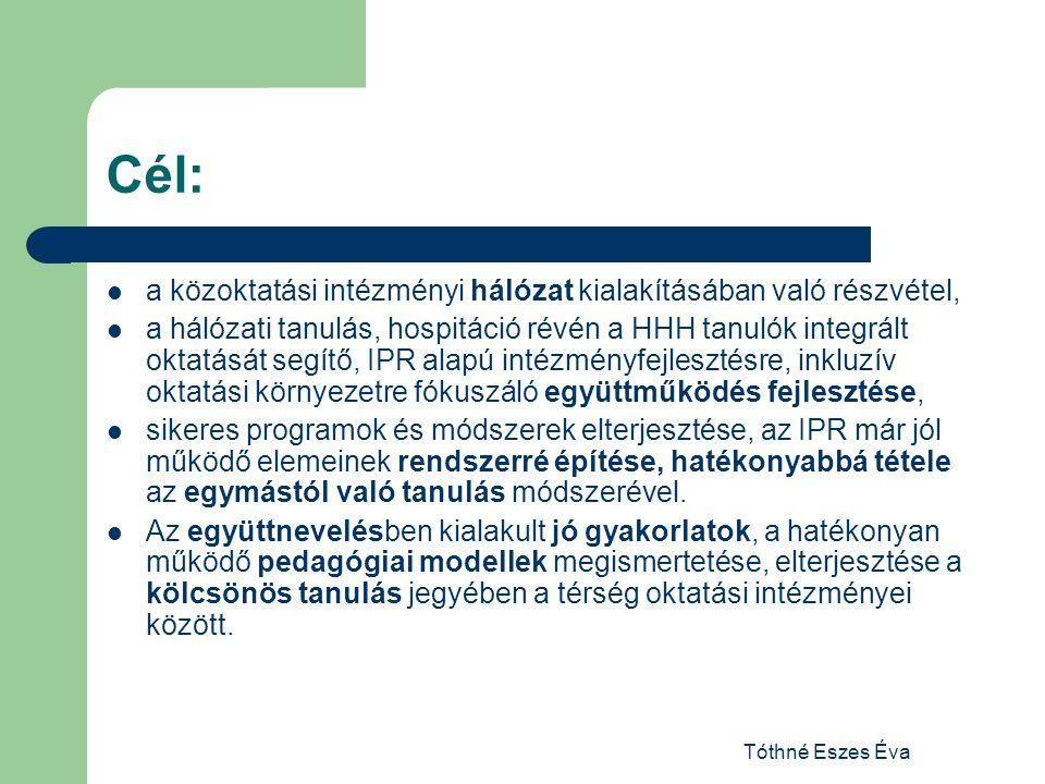 Cél: a közoktatási intézményi hálózat kialakításában való részvétel,