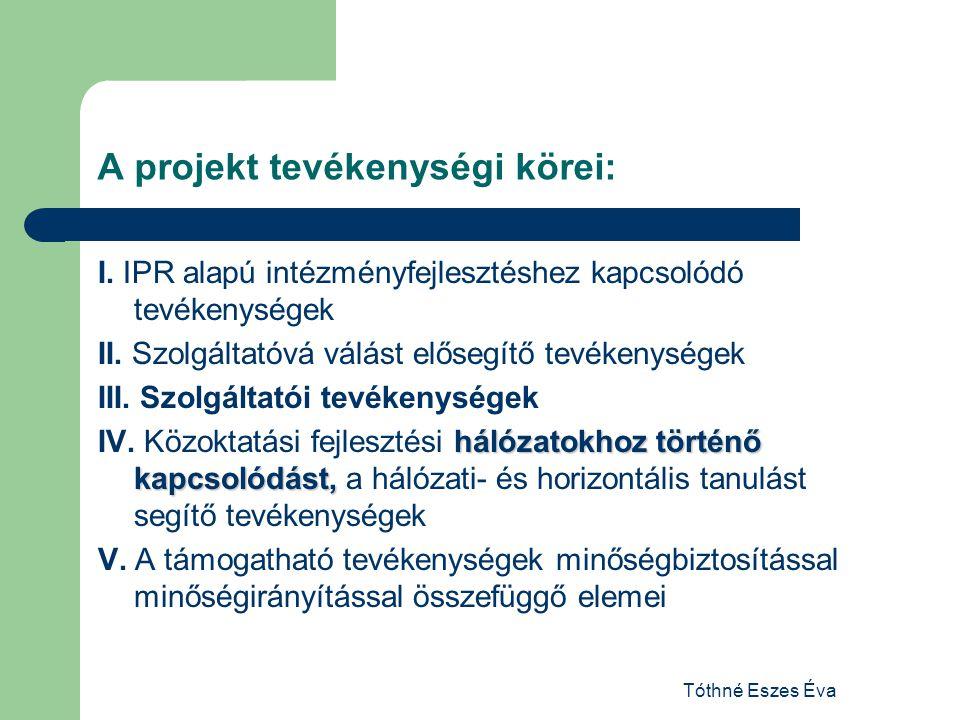 A projekt tevékenységi körei: