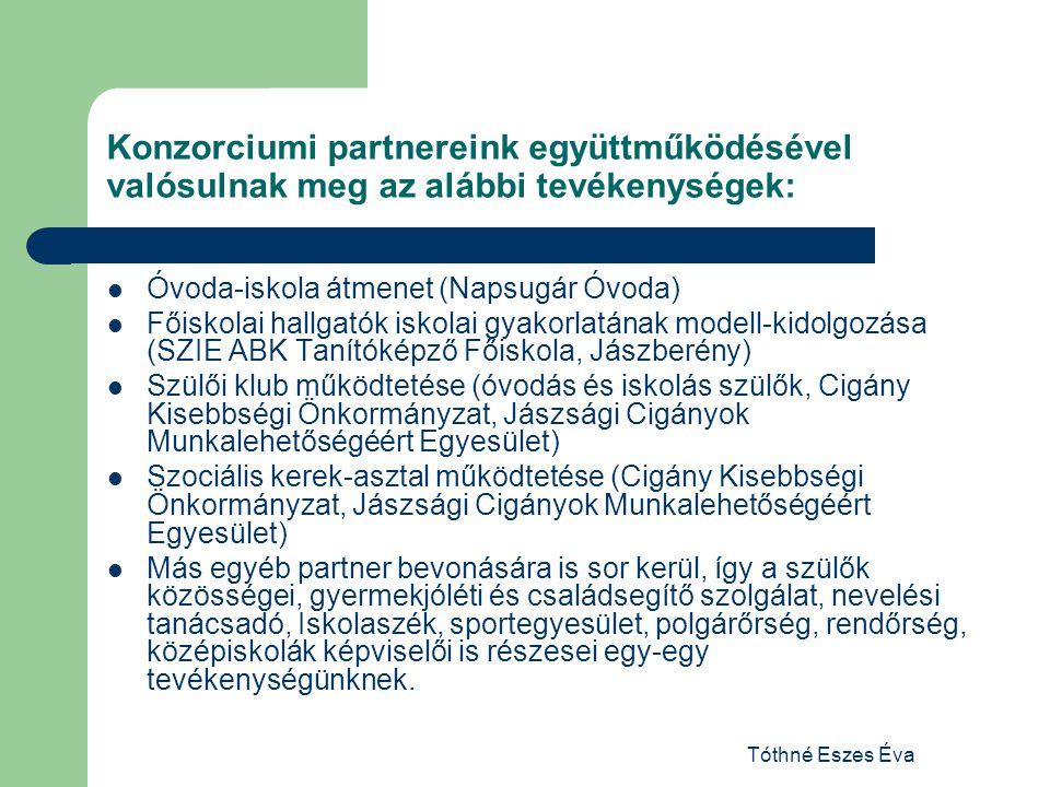 Konzorciumi partnereink együttműködésével valósulnak meg az alábbi tevékenységek: