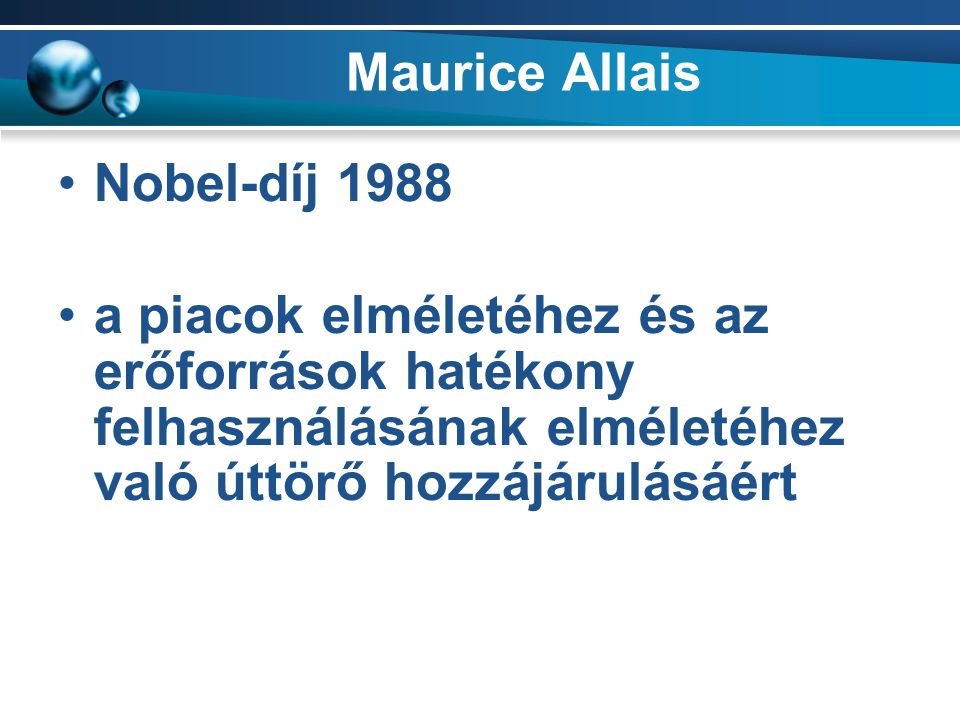 Maurice Allais Nobel-díj 1988.