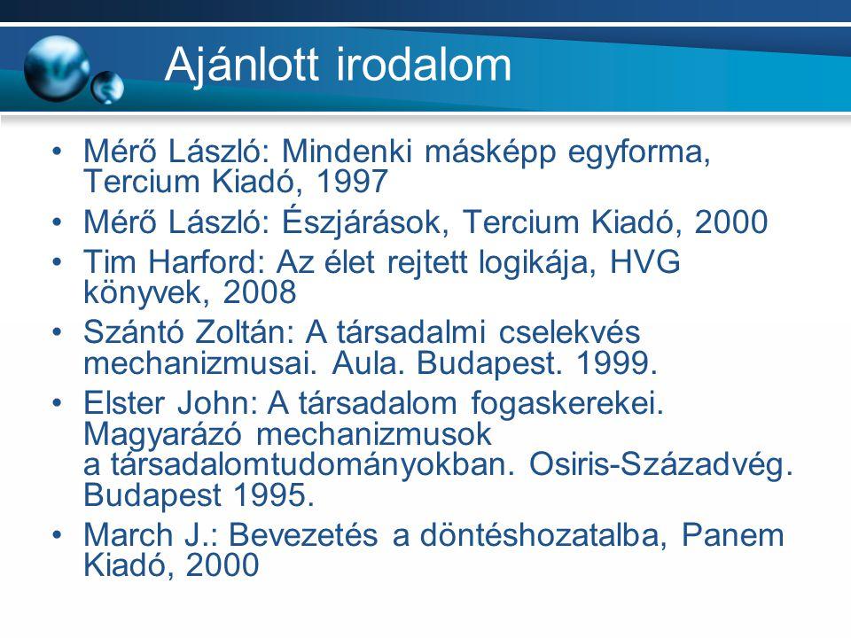 Ajánlott irodalom Mérő László: Mindenki másképp egyforma, Tercium Kiadó, 1997. Mérő László: Észjárások, Tercium Kiadó, 2000.