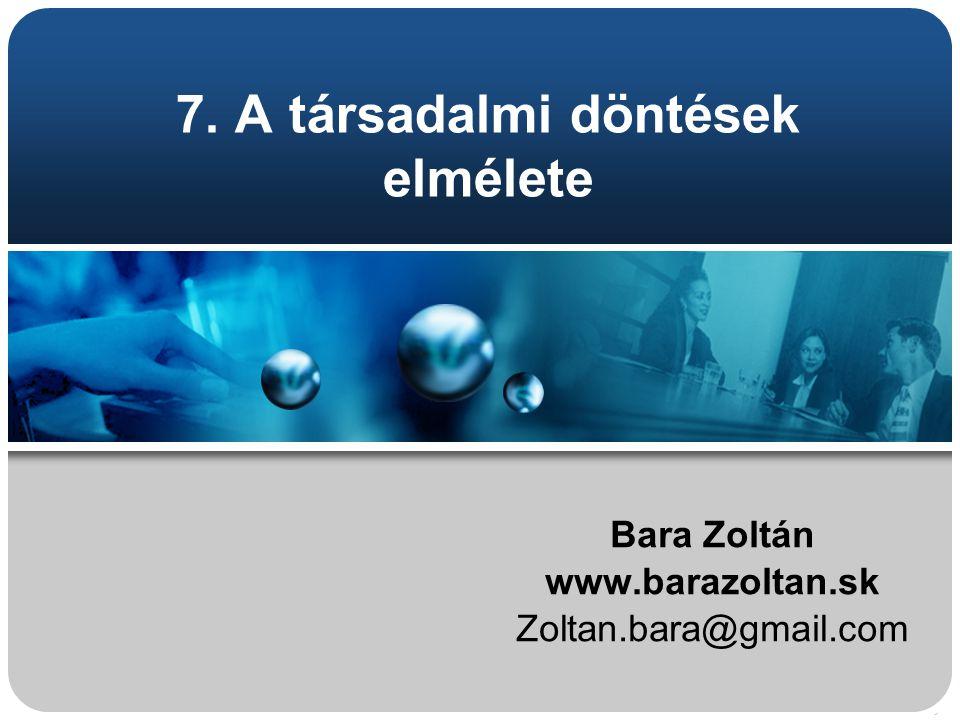 7. A társadalmi döntések elmélete