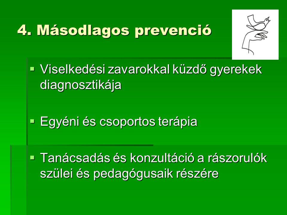 4. Másodlagos prevenció Viselkedési zavarokkal küzdő gyerekek diagnosztikája. Egyéni és csoportos terápia.