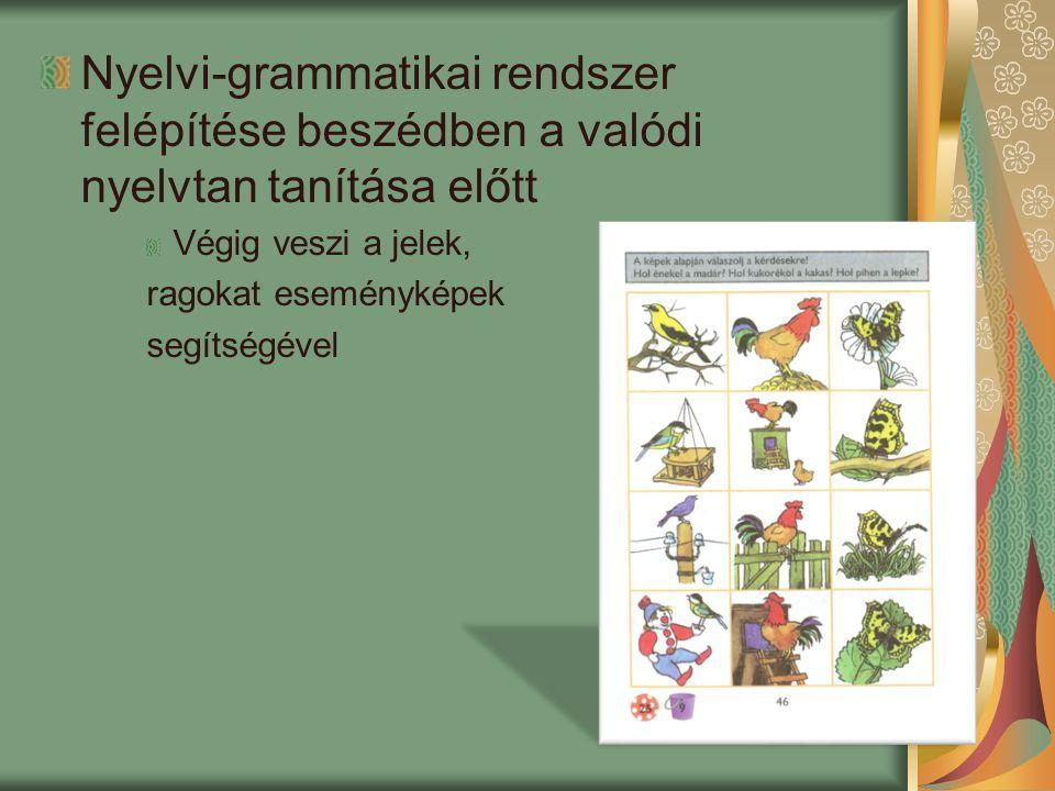 Nyelvi-grammatikai rendszer felépítése beszédben a valódi nyelvtan tanítása előtt