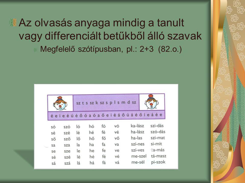 Az olvasás anyaga mindig a tanult vagy differenciált betűkből álló szavak