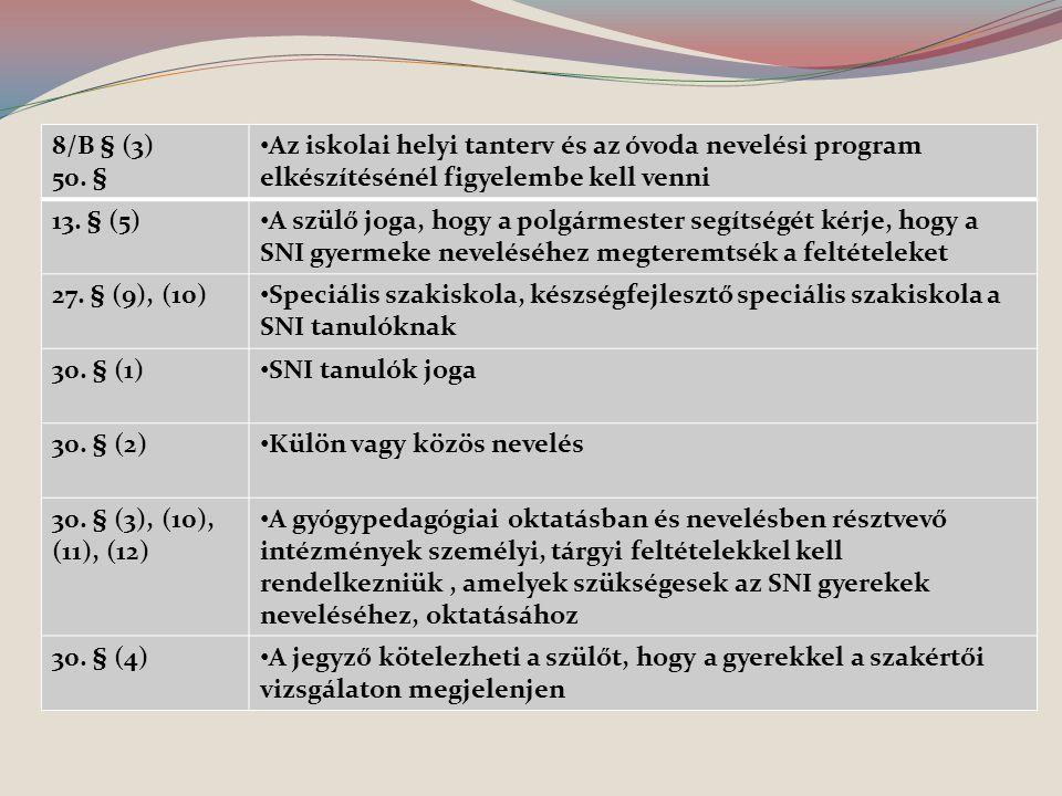 8/B § (3) 50. § Az iskolai helyi tanterv és az óvoda nevelési program elkészítésénél figyelembe kell venni.