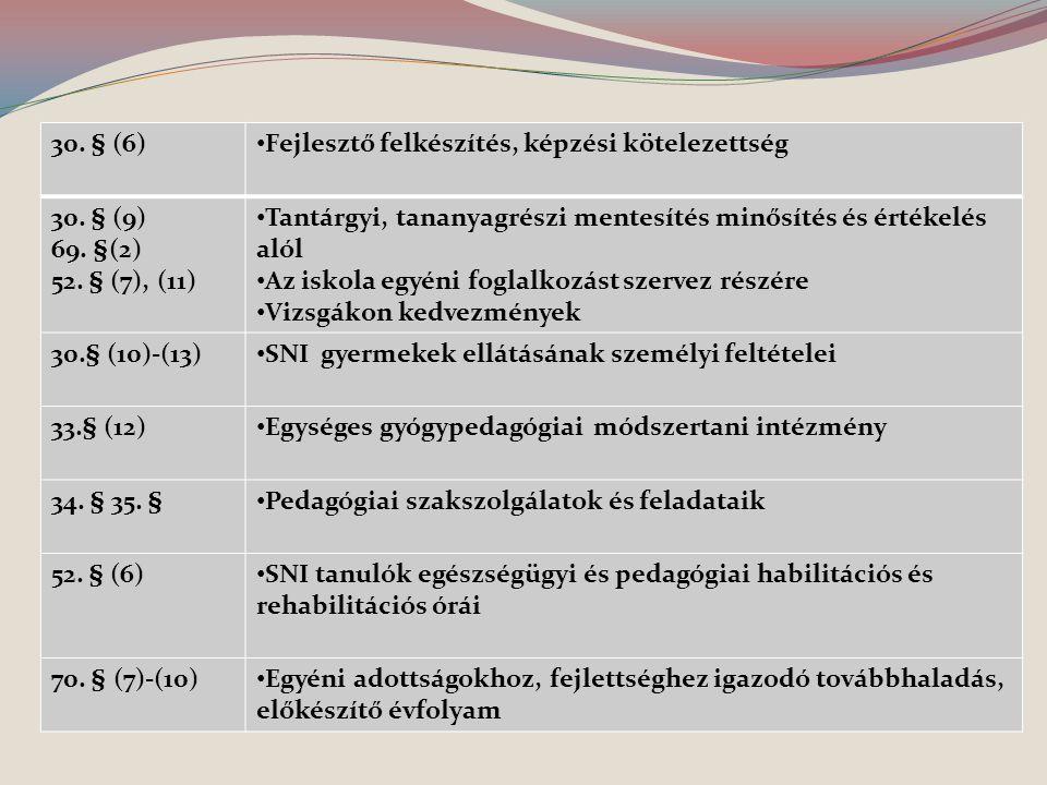 30. § (6) Fejlesztő felkészítés, képzési kötelezettség. 30. § (9) 69. §(2) 52. § (7), (11)