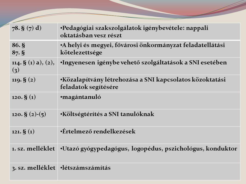 78. § (7) d) Pedagógiai szakszolgálatok igénybevétele: nappali oktatásban vesz részt. 86. § 87. §