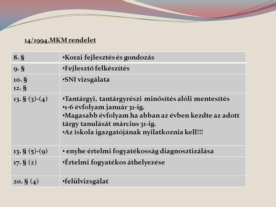 14/1994.MKM rendelet 8. § Korai fejlesztés és gondozás. 9. § Fejlesztő felkészítés. 10. § 12. §