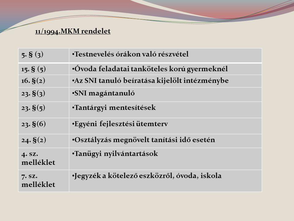 11/1994.MKM rendelet 5. § (3) Testnevelés órákon való részvétel. 15. § (5) Óvoda feladatai tanköteles korú gyermeknél.