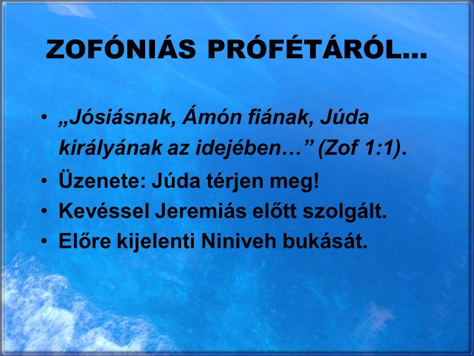 """ZOFÓNIÁS PRÓFÉTÁRÓL… """"Jósiásnak, Ámón fiának, Júda királyának az idejében… (Zof 1:1). Üzenete: Júda térjen meg!"""