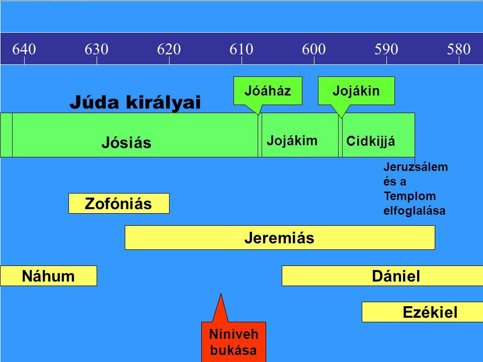 Júda királyai 640 630 620 610 600 590 580 Jósiás Zofóniás Jeremiás