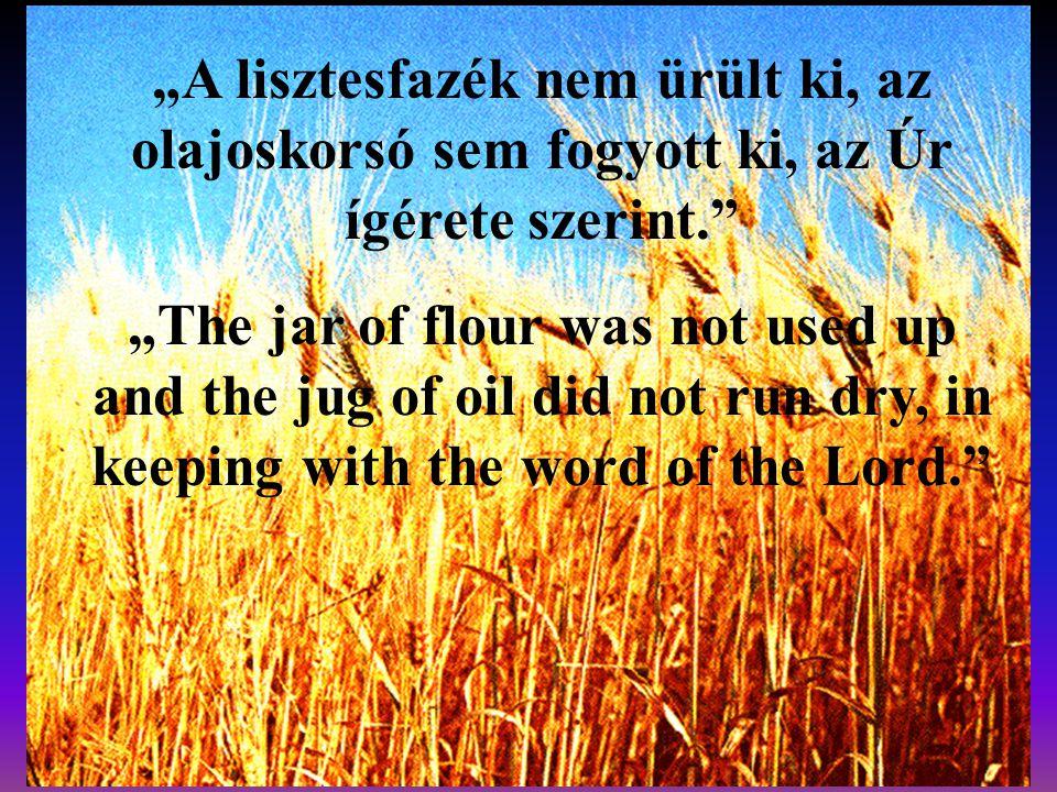 """""""A lisztesfazék nem ürült ki, az olajoskorsó sem fogyott ki, az Úr ígérete szerint."""