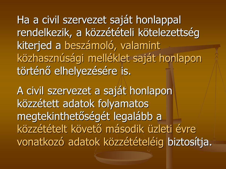 Ha a civil szervezet saját honlappal rendelkezik, a közzétételi kötelezettség kiterjed a beszámoló, valamint közhasznúsági melléklet saját honlapon történő elhelyezésére is.