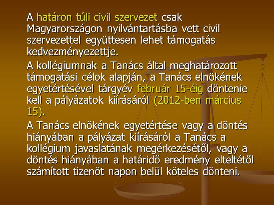 A határon túli civil szervezet csak Magyarországon nyilvántartásba vett civil szervezettel együttesen lehet támogatás kedvezményezettje.