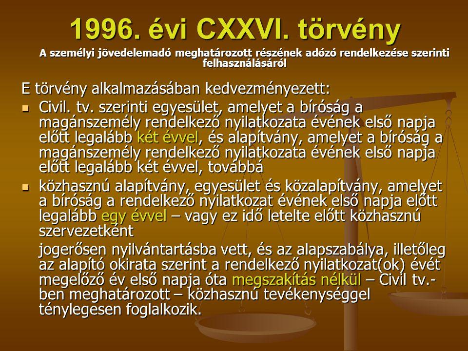 1996. évi CXXVI. törvény E törvény alkalmazásában kedvezményezett: