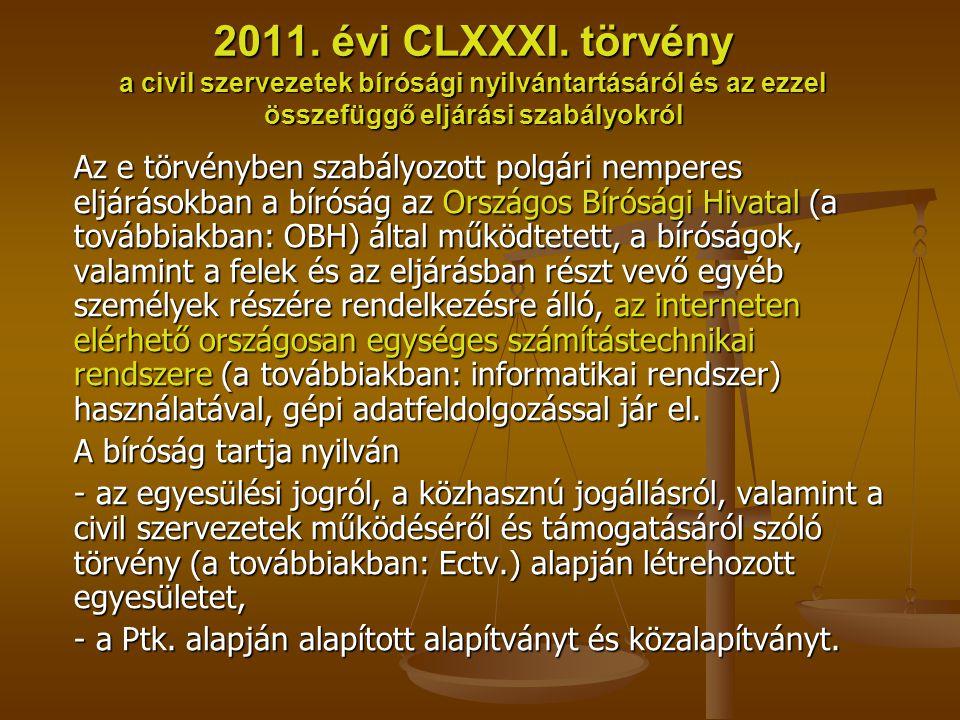 2011. évi CLXXXI. törvény a civil szervezetek bírósági nyilvántartásáról és az ezzel összefüggő eljárási szabályokról