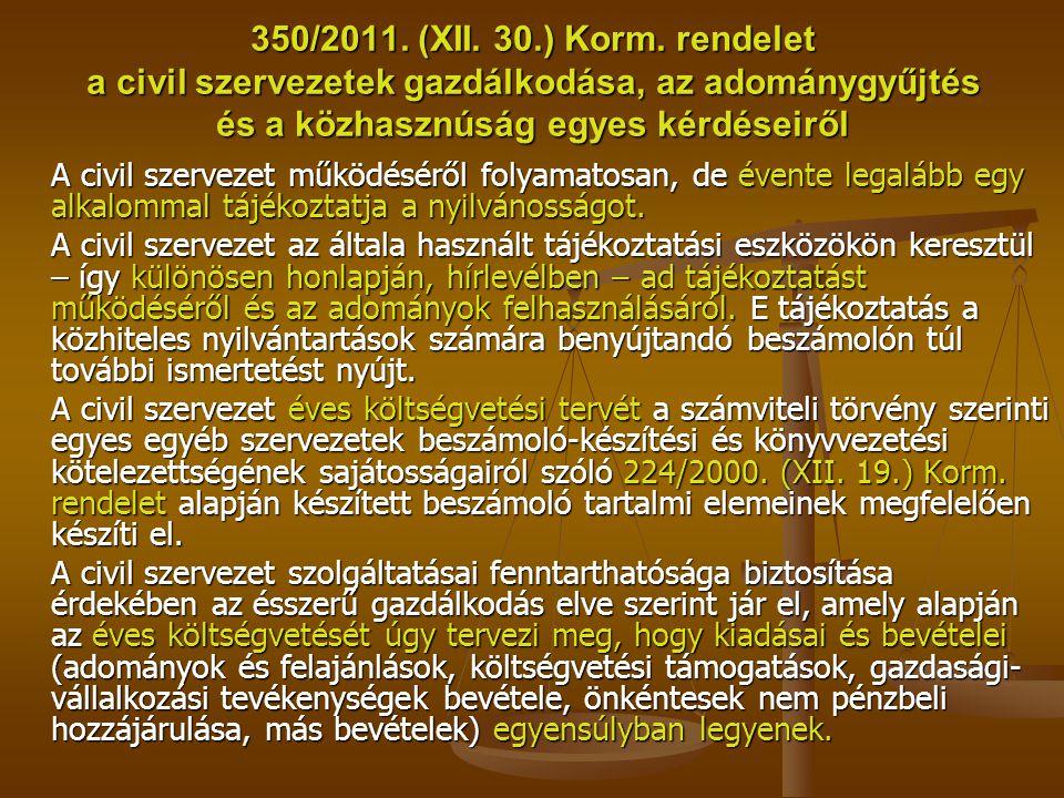 350/2011. (XII. 30.) Korm. rendelet a civil szervezetek gazdálkodása, az adománygyűjtés és a közhasznúság egyes kérdéseiről