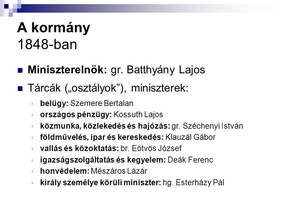 A kormány 1848-ban Miniszterelnök: gr. Batthyány Lajos