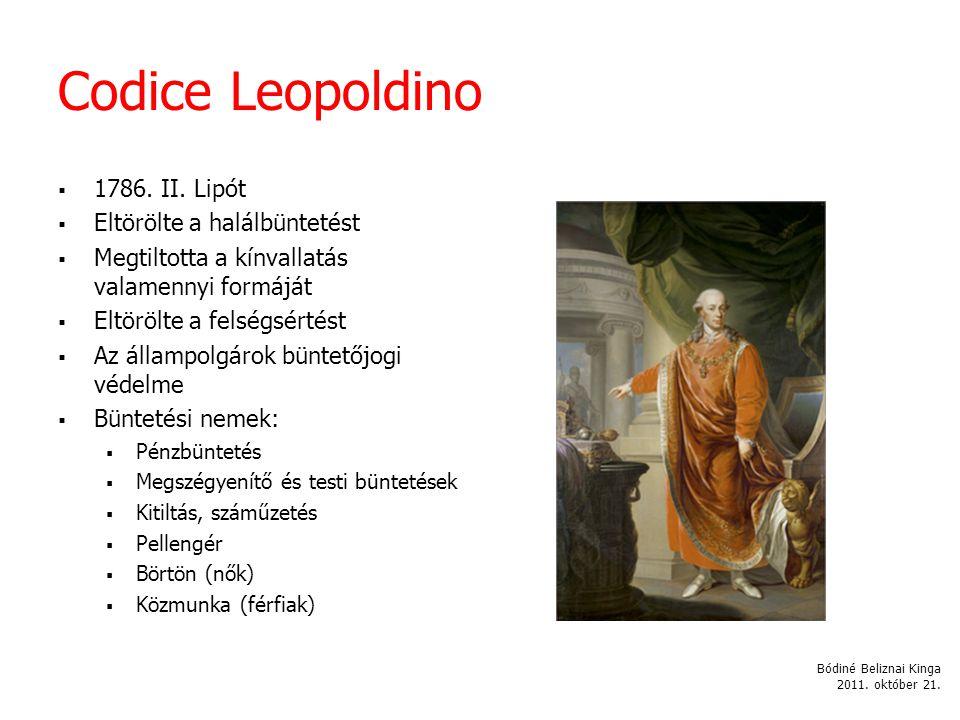 Codice Leopoldino 1786. II. Lipót Eltörölte a halálbüntetést