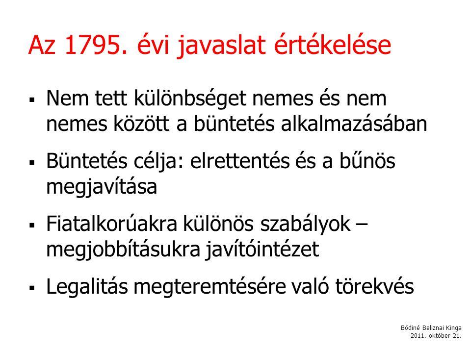 Az 1795. évi javaslat értékelése