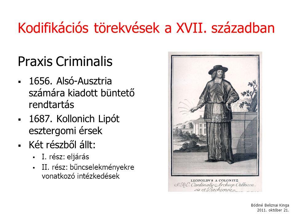 Kodifikációs törekvések a XVII. században