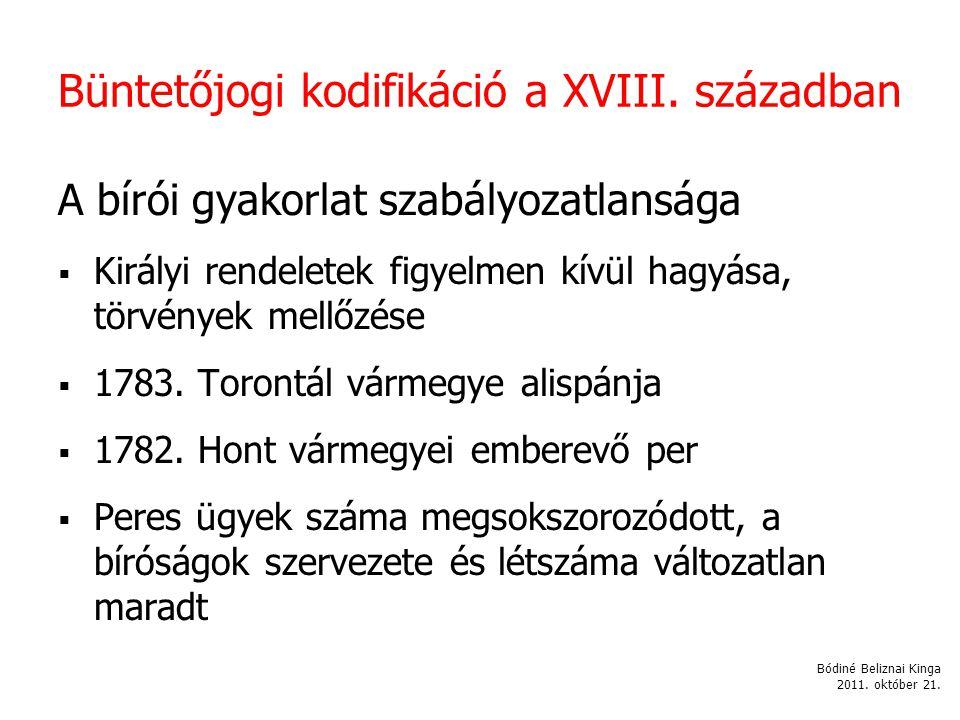 Büntetőjogi kodifikáció a XVIII. században