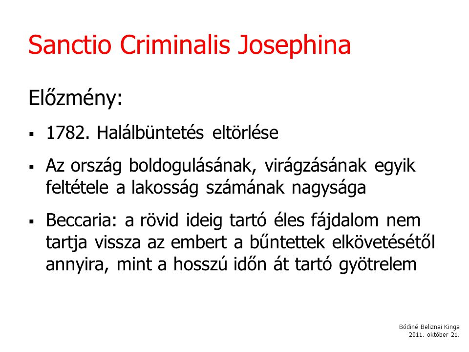 Sanctio Criminalis Josephina