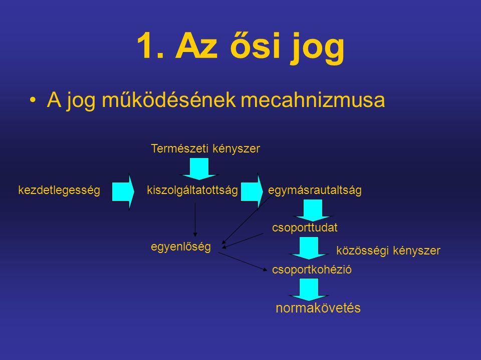 1. Az ősi jog A jog működésének mecahnizmusa normakövetés