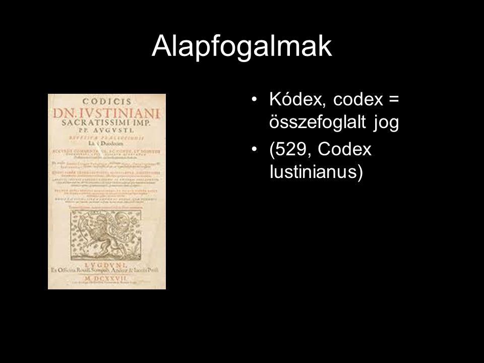 Alapfogalmak Kódex, codex = összefoglalt jog (529, Codex Iustinianus)