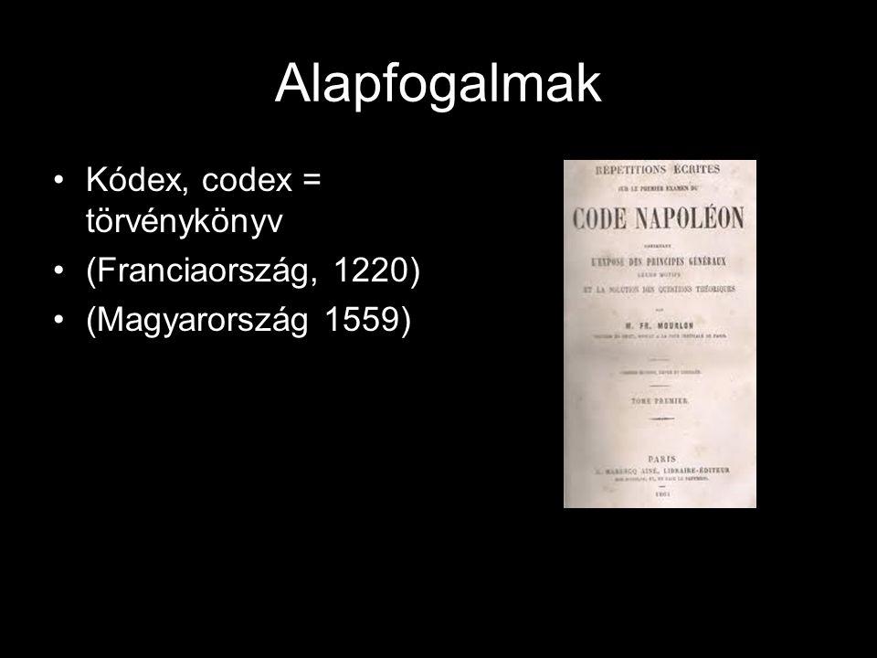 Alapfogalmak Kódex, codex = törvénykönyv (Franciaország, 1220)