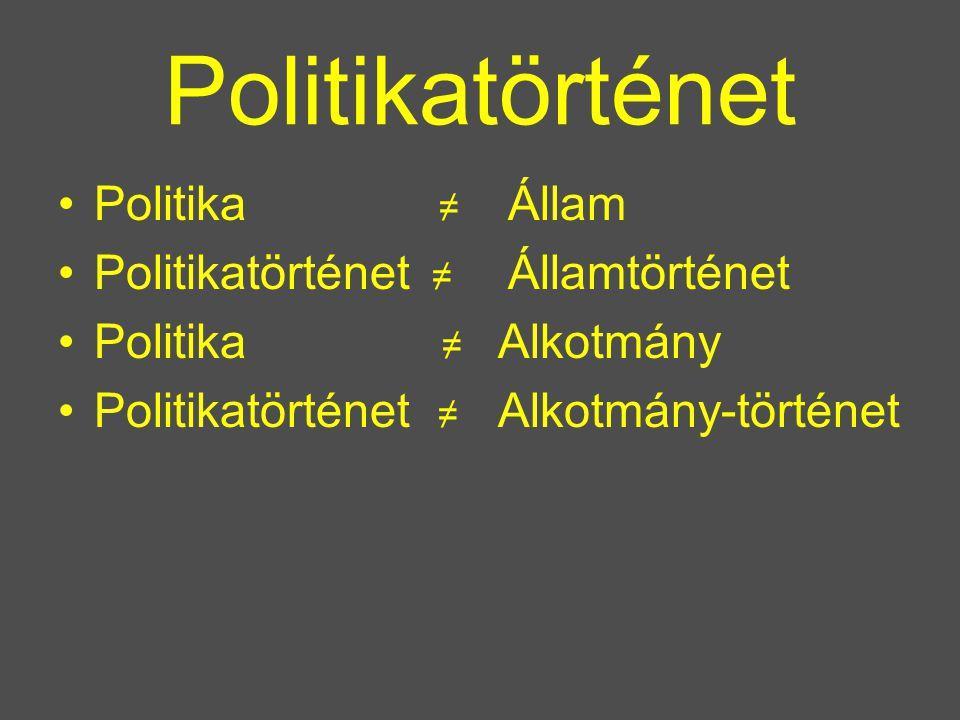 Politikatörténet Politika ≠ Politikatörténet ≠ Politika ≠ Alkotmány