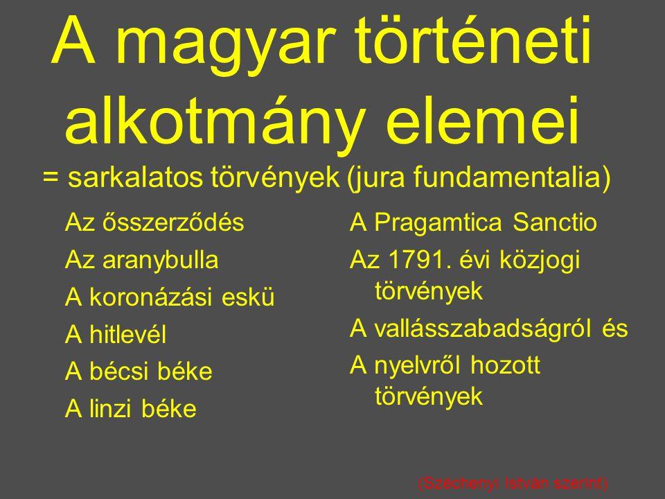 A magyar történeti alkotmány elemei = sarkalatos törvények (jura fundamentalia)