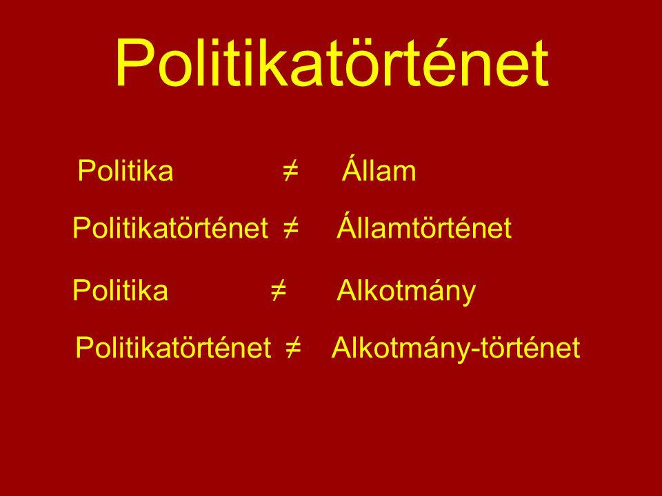 Politikatörténet Politika ≠ Állam Politikatörténet ≠ Államtörténet