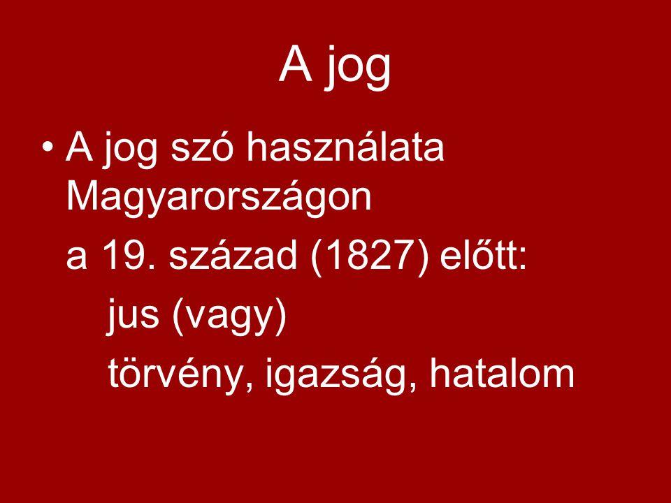A jog A jog szó használata Magyarországon a 19. század (1827) előtt: