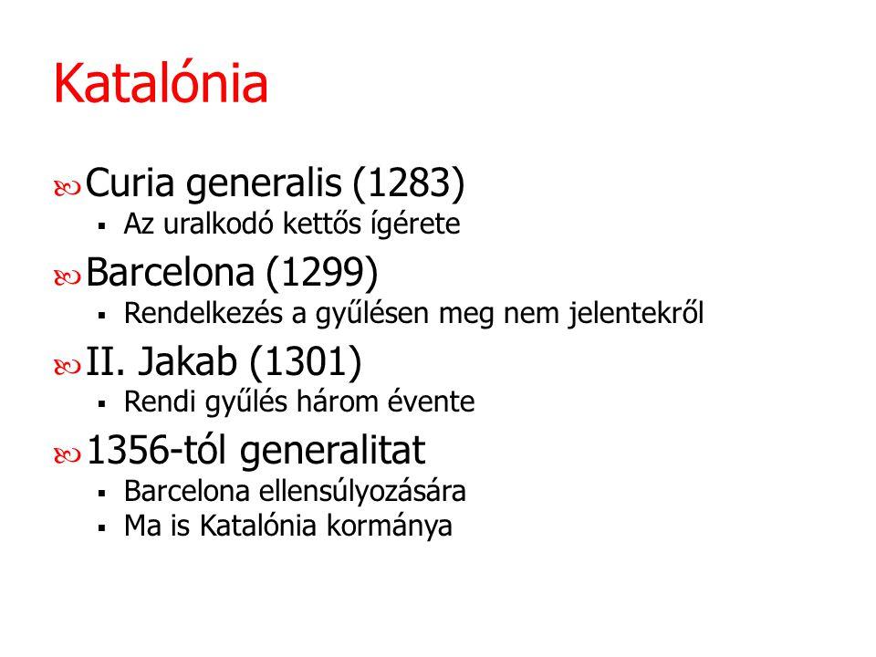 Katalónia Curia generalis (1283) Barcelona (1299) II. Jakab (1301)