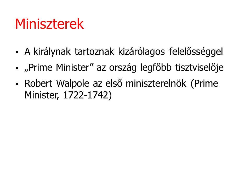 Miniszterek A királynak tartoznak kizárólagos felelősséggel