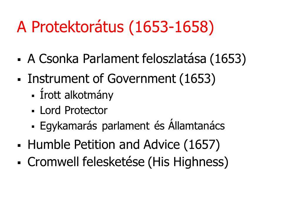 A Protektorátus (1653-1658) A Csonka Parlament feloszlatása (1653)