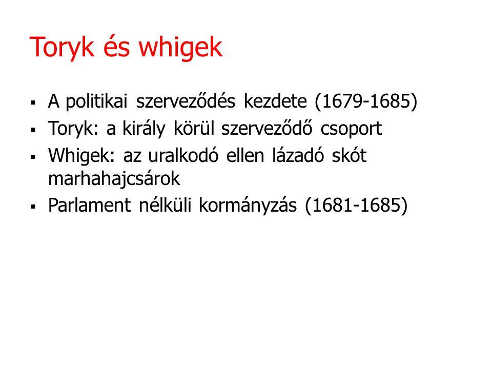 Toryk és whigek A politikai szerveződés kezdete (1679-1685)