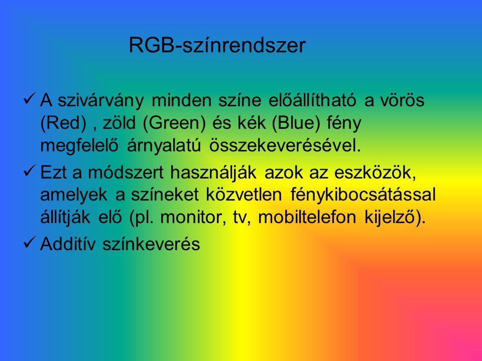 RGB-színrendszer A szivárvány minden színe előállítható a vörös (Red) , zöld (Green) és kék (Blue) fény megfelelő árnyalatú összekeverésével.