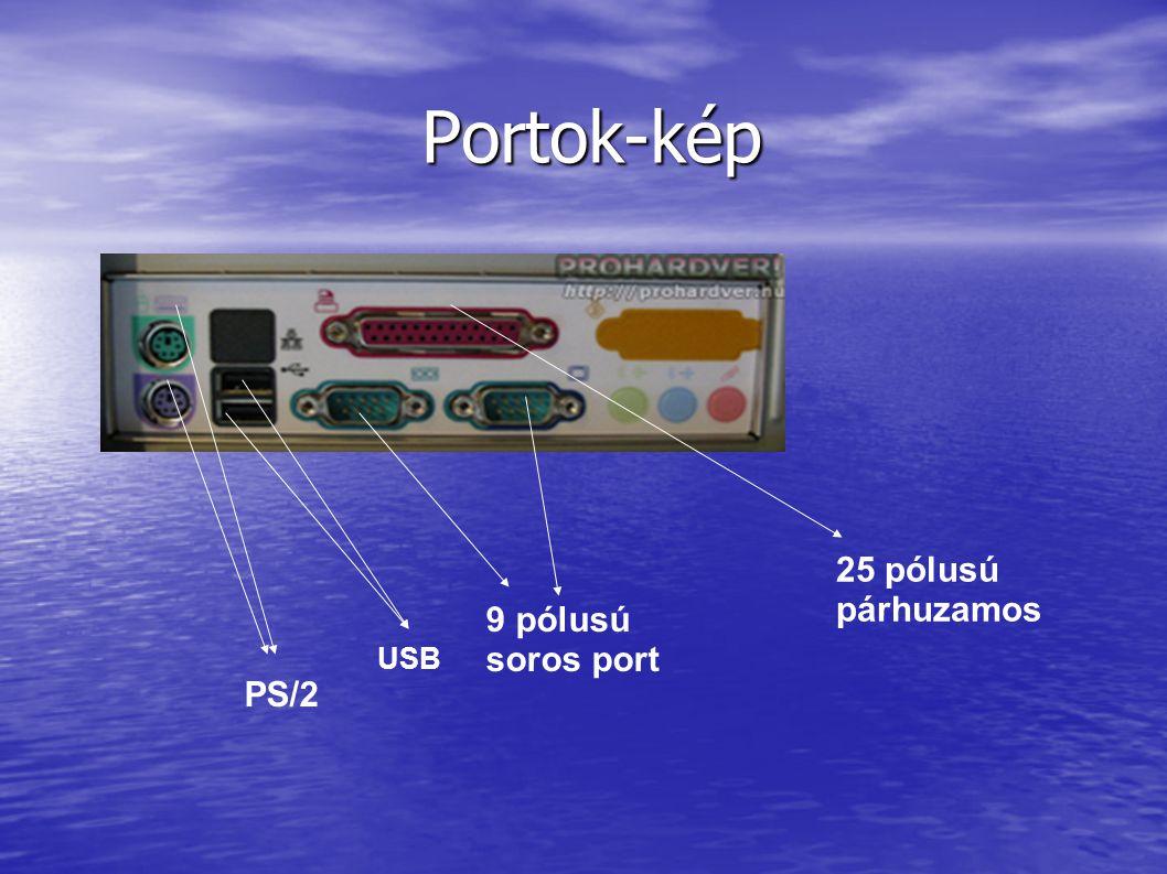 Portok-kép 25 pólusú párhuzamos 9 pólusú soros port USB PS/2