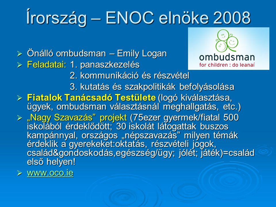 Írország – ENOC elnöke 2008 Önálló ombudsman – Emily Logan